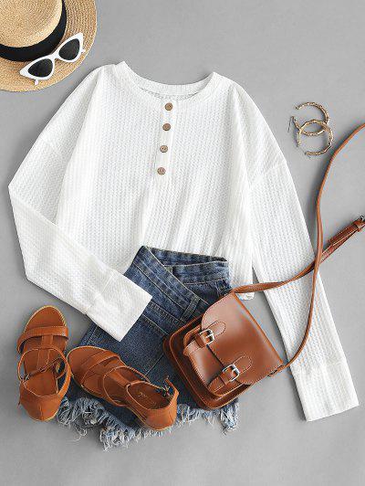 ZAFUL Halber Knopf Henley Crop Pullover - Weiß S