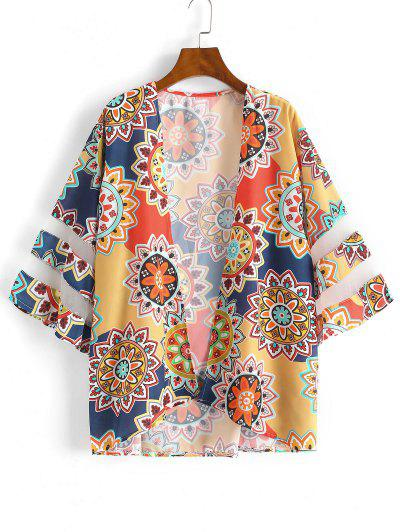 Tribal Mesh Panel Kimono Cover Up - Red M