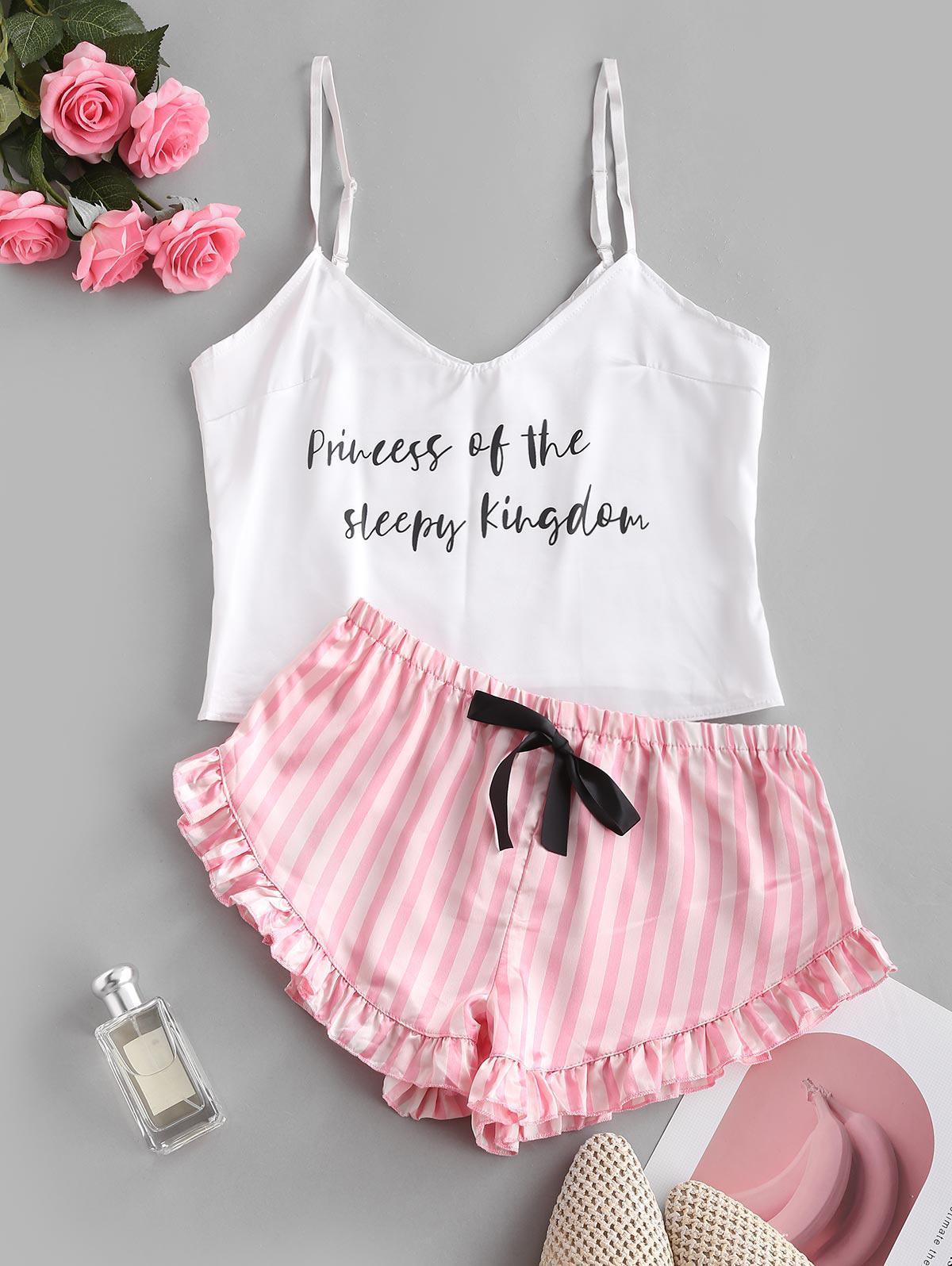 Satin Striped Graphic Frilled Cami PJ Set