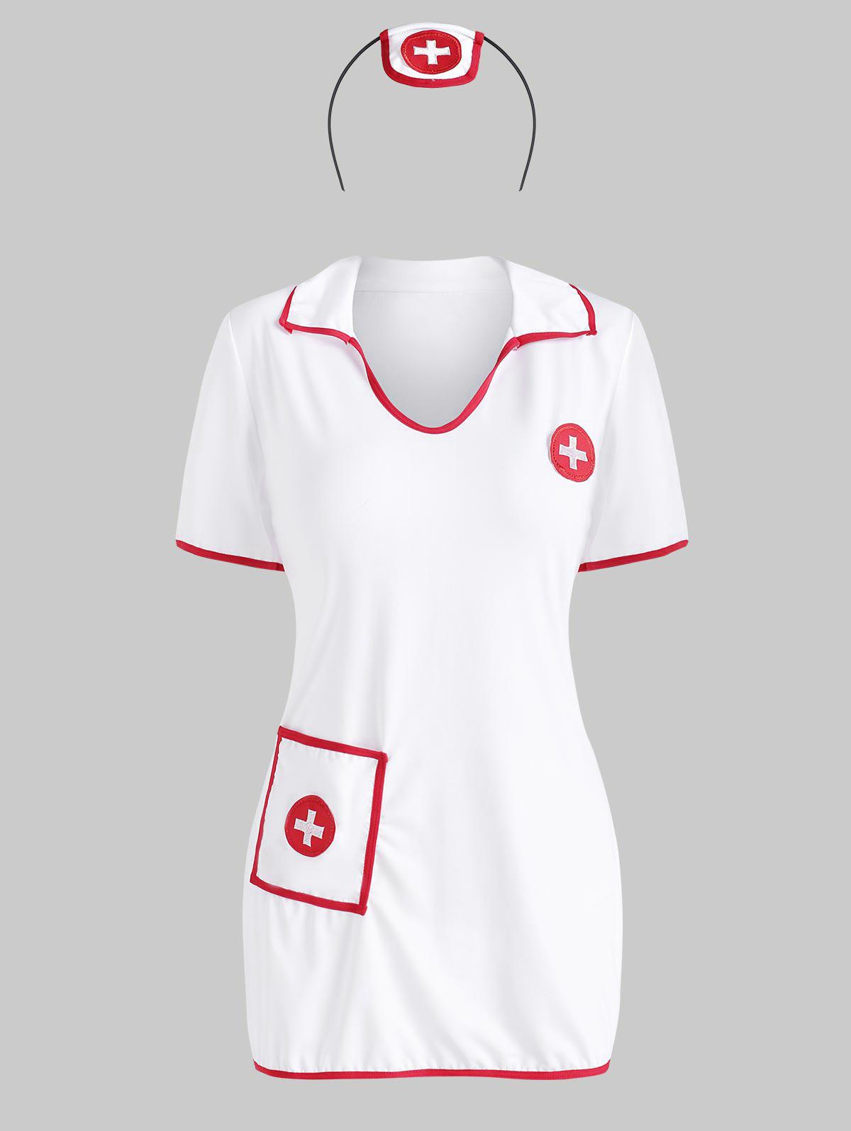 Headband Front Pocket Cosplay Nurse Costume