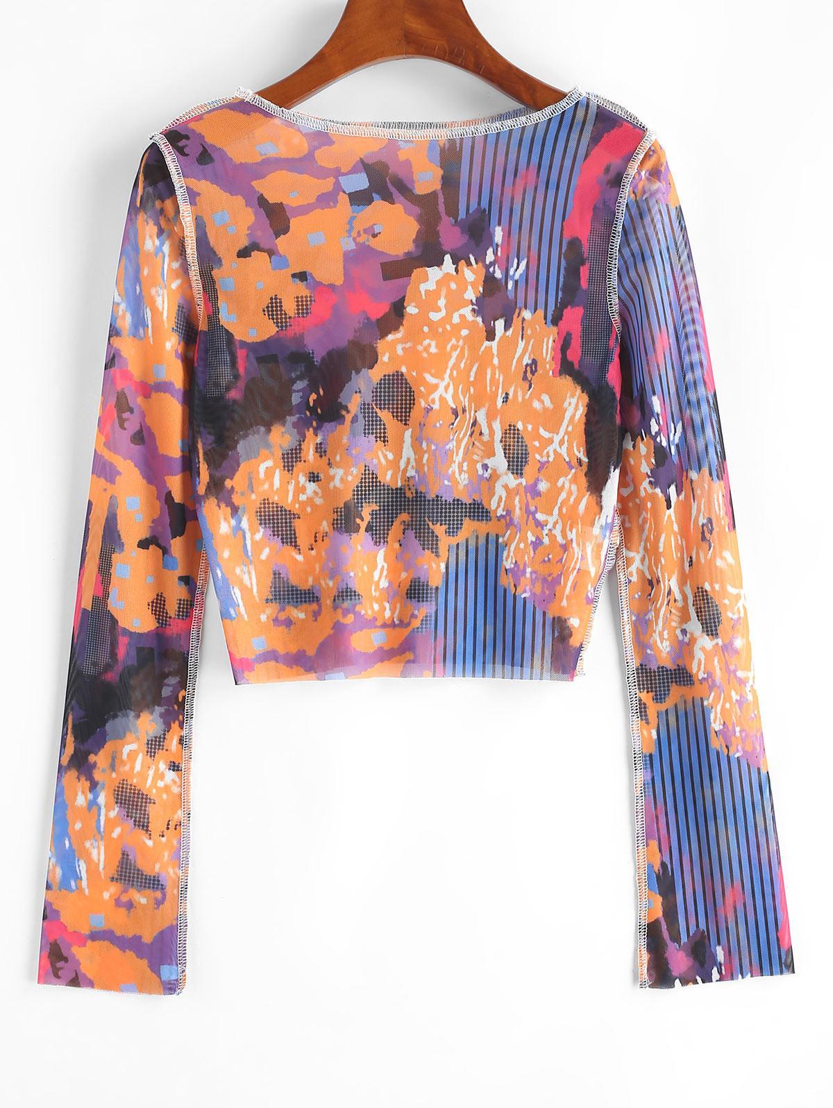 Printed See Through Mesh Crew Neck Cropped T Shirt