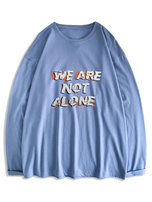 T-shirt Slogan Imprimé à Col Rond Xl - Zaful FR - Modalova