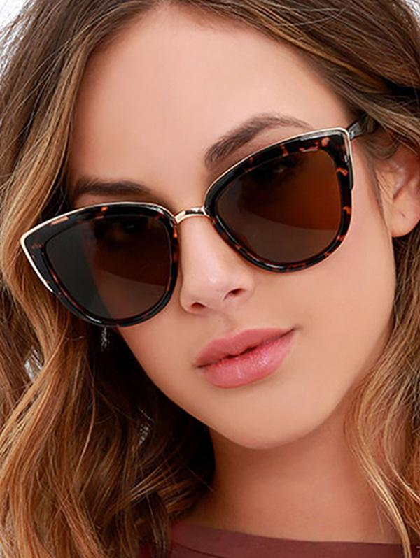 Retro Leopard Kitty Eye Sunglasses