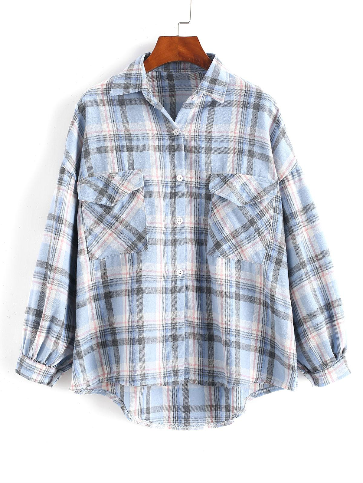 Checked Pockets Drop Shoulder High Low Shirt