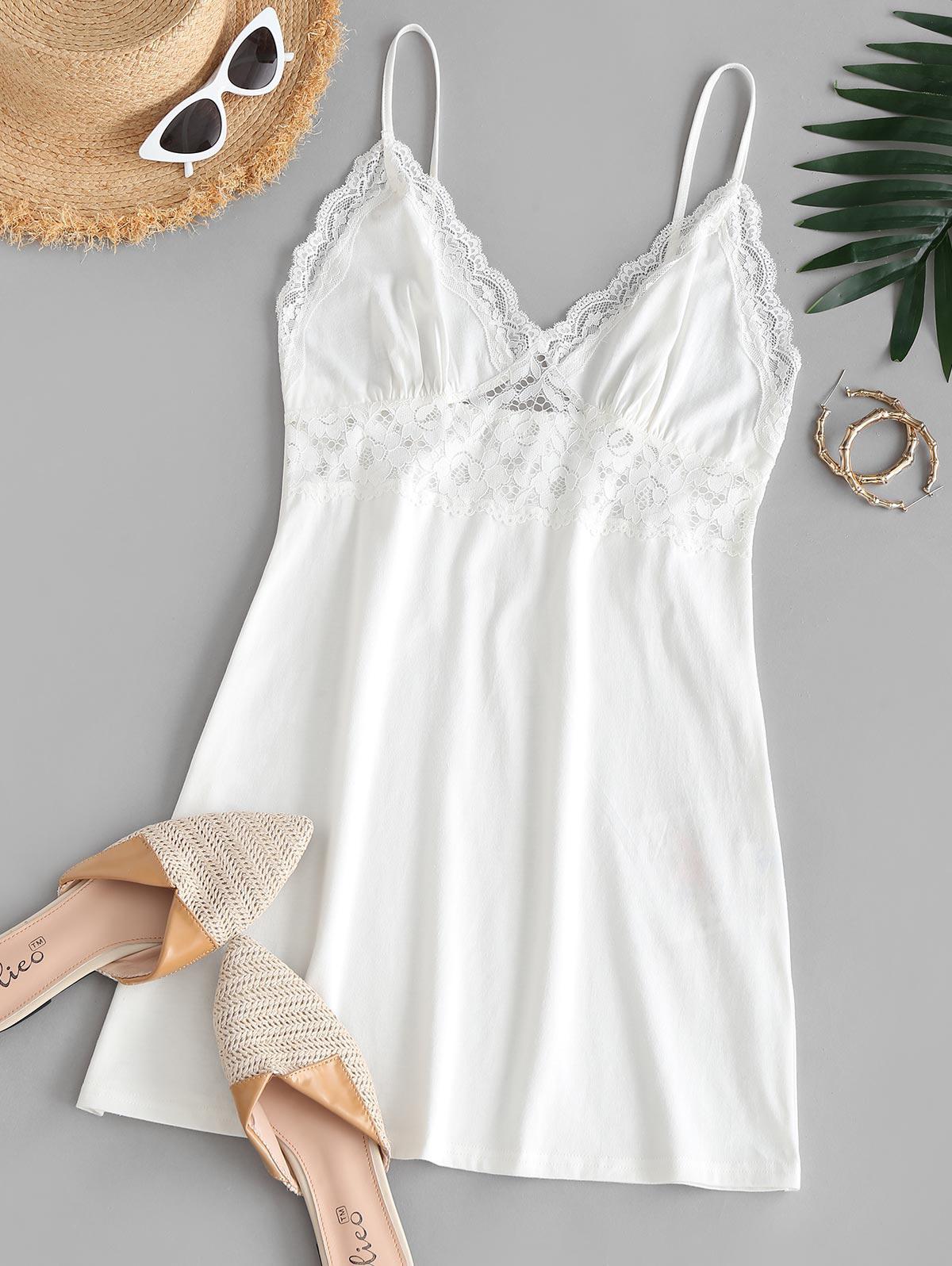 ZAFUL Lace Panel Cami Sleepwear Dress