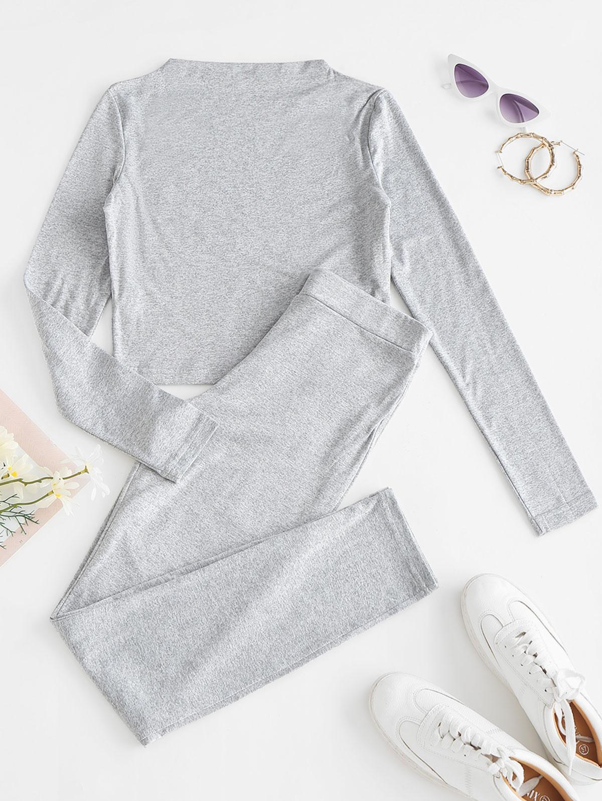 Heathered Sports Cropped Top and Leggings Set