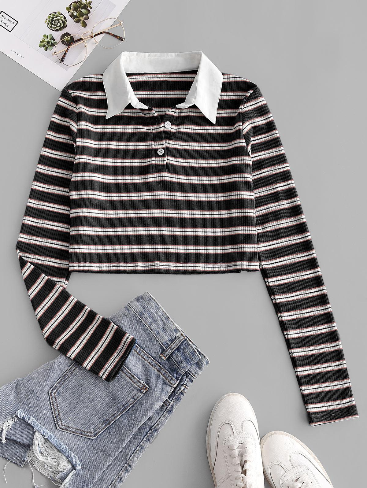 ZAFUL Ribbed Stripes Half Buttoned Cropped Tee, Black