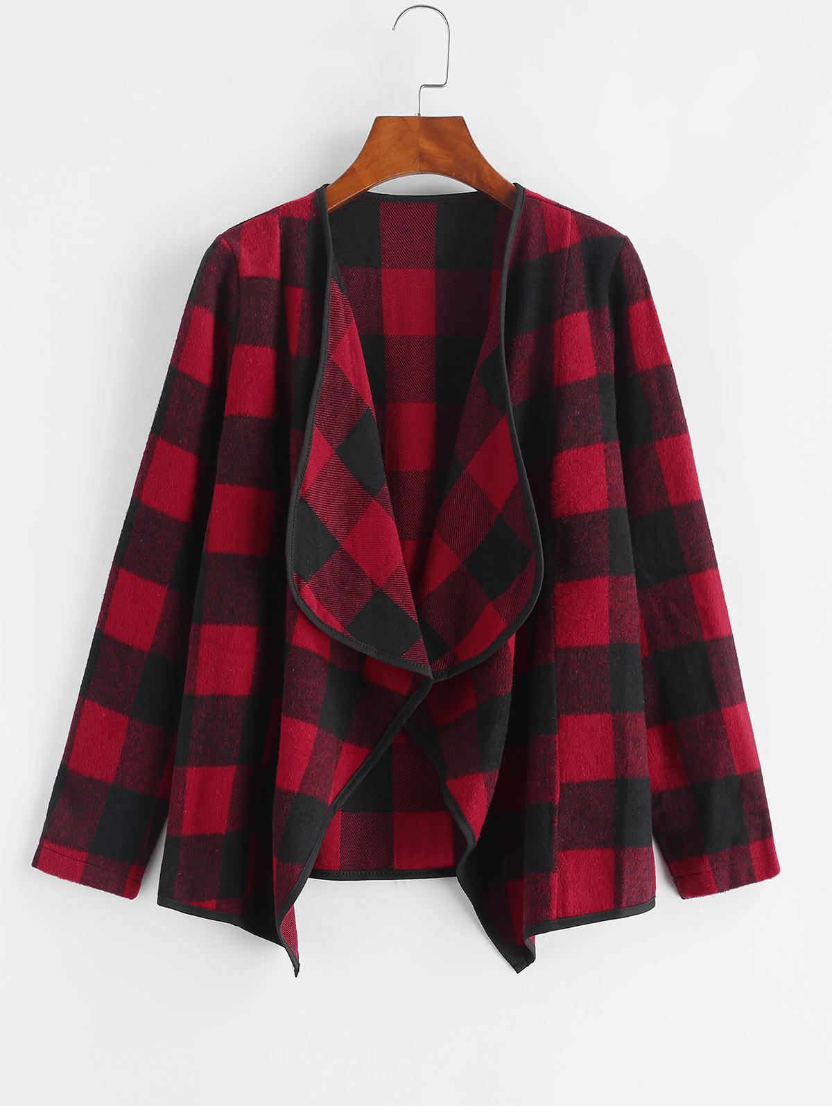 Plaid Drape Front Wool Blend Coat