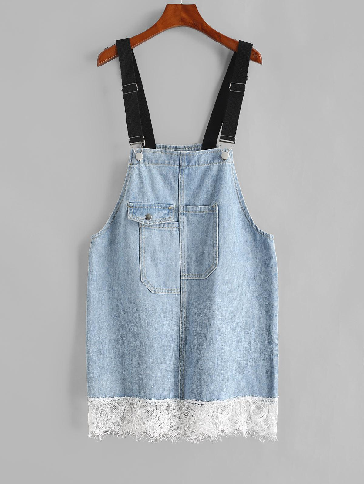 Flap Pocket Lace Trim Overall Jean Dress