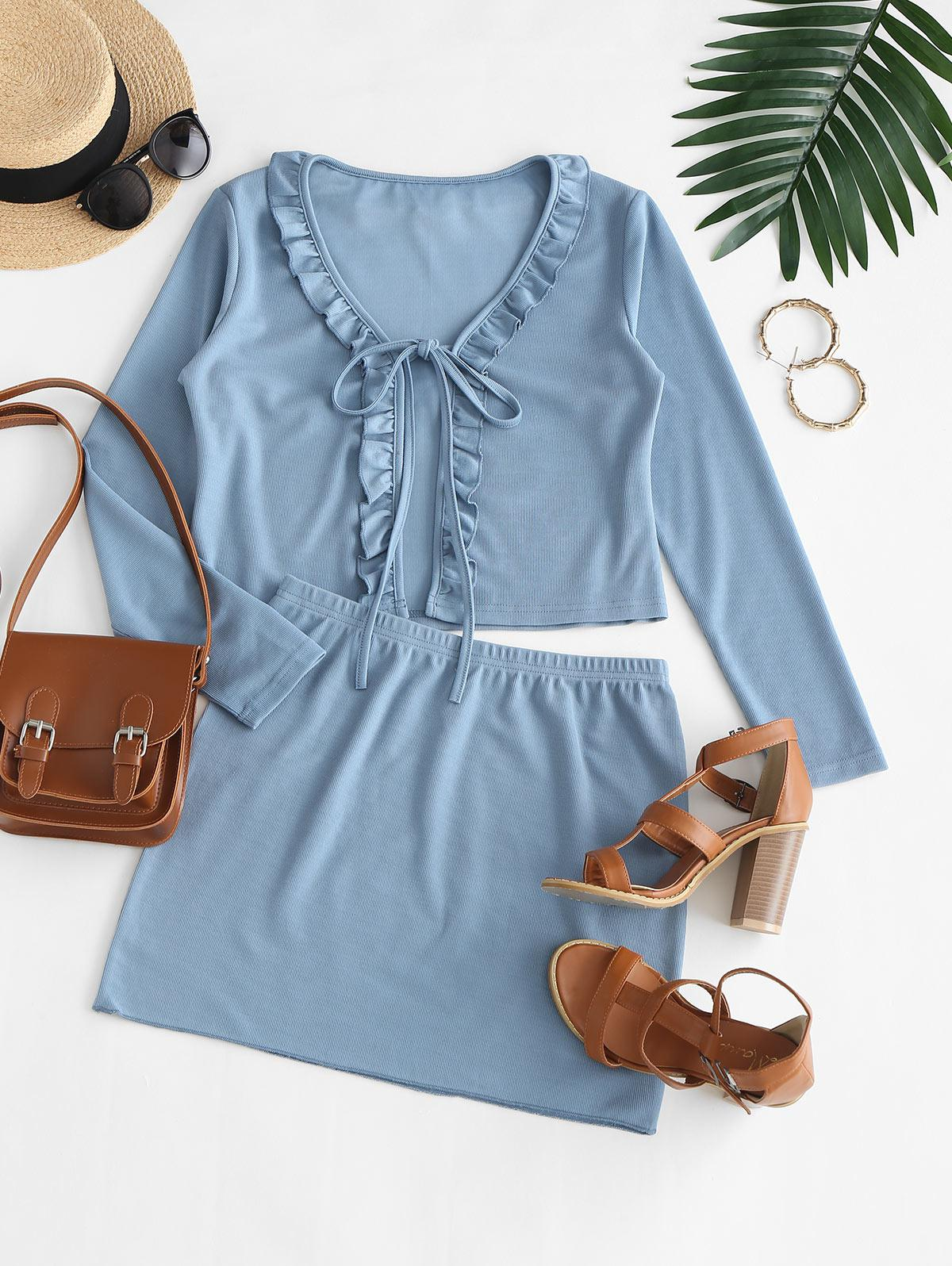 Ruffled Trim Tie Front Ribbed Two Piece Dress