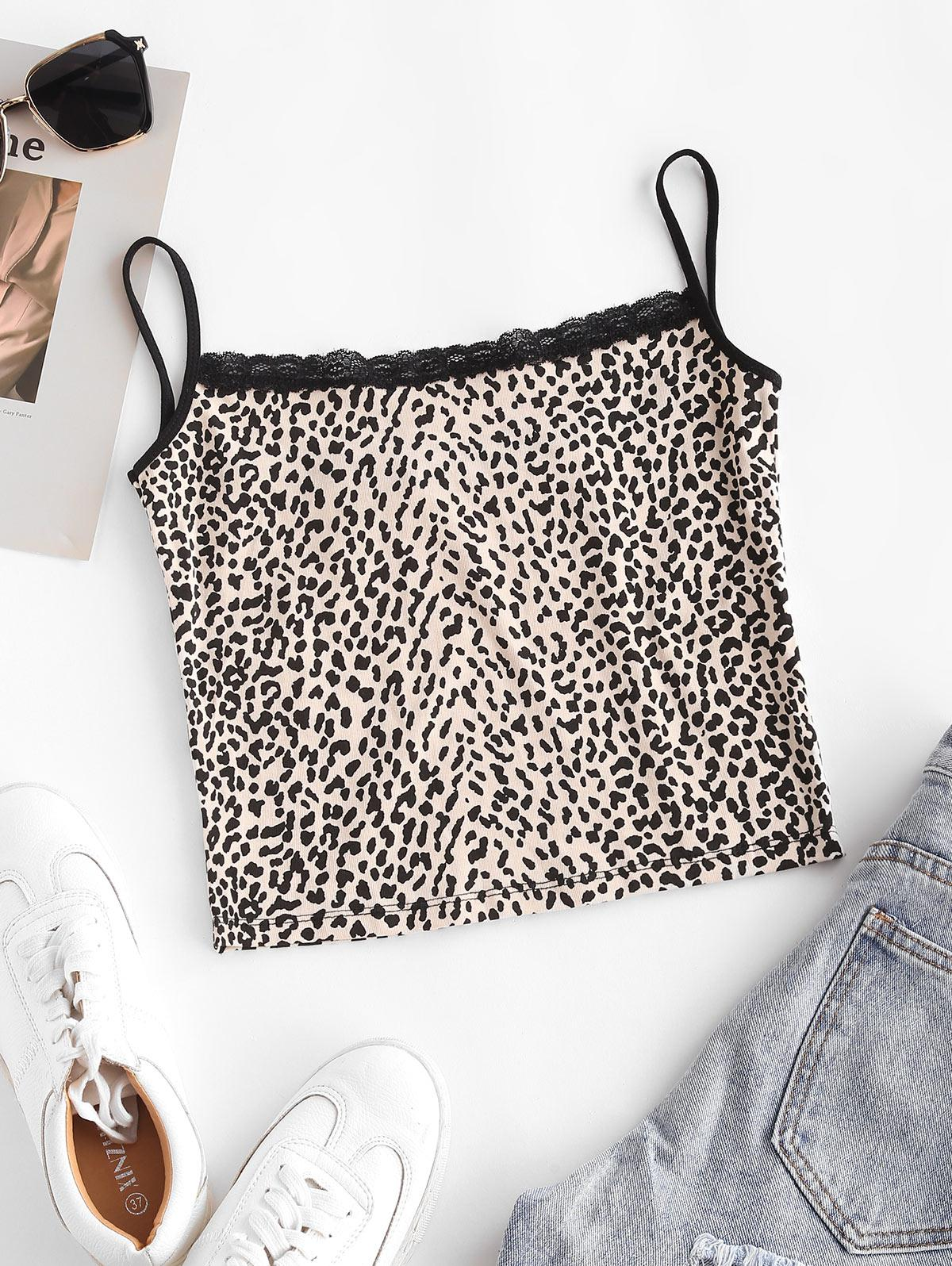 Lace Panel Leopard Crop Cami Top