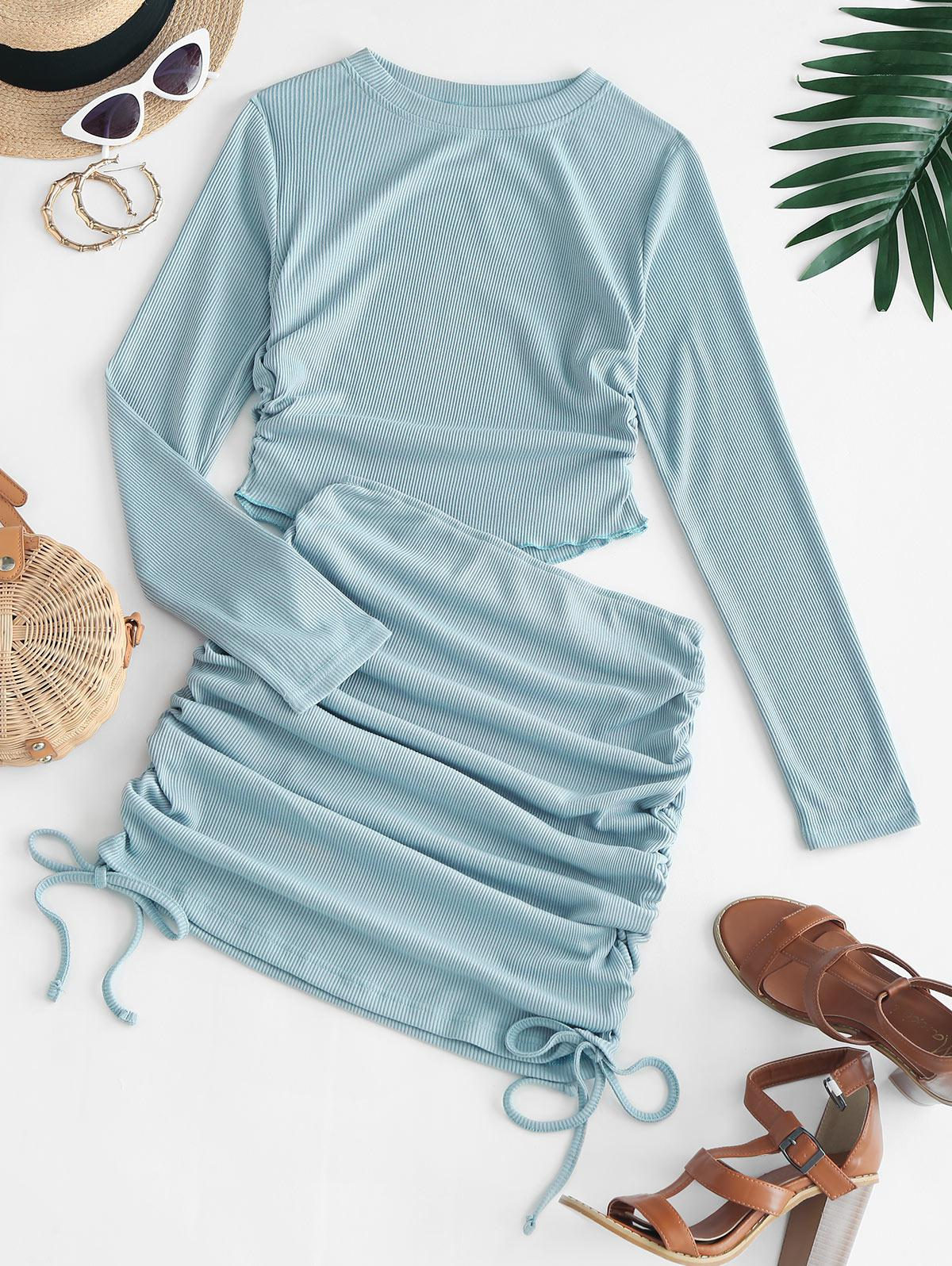 Gathered Crop Top and Bodycon Skirt Two Piece Sets