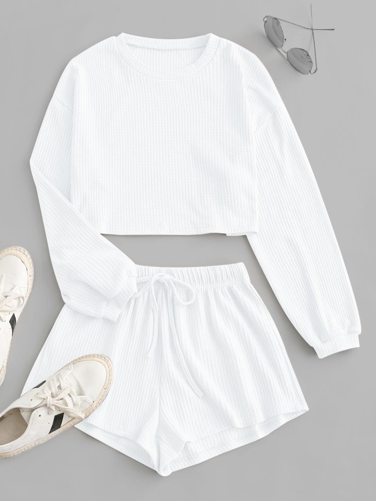 Knitted Drop Shoulder Drawstring Shorts Set