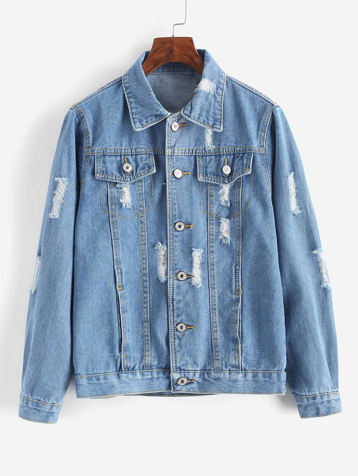 Button Up Distressed Pockets Denim Jacket