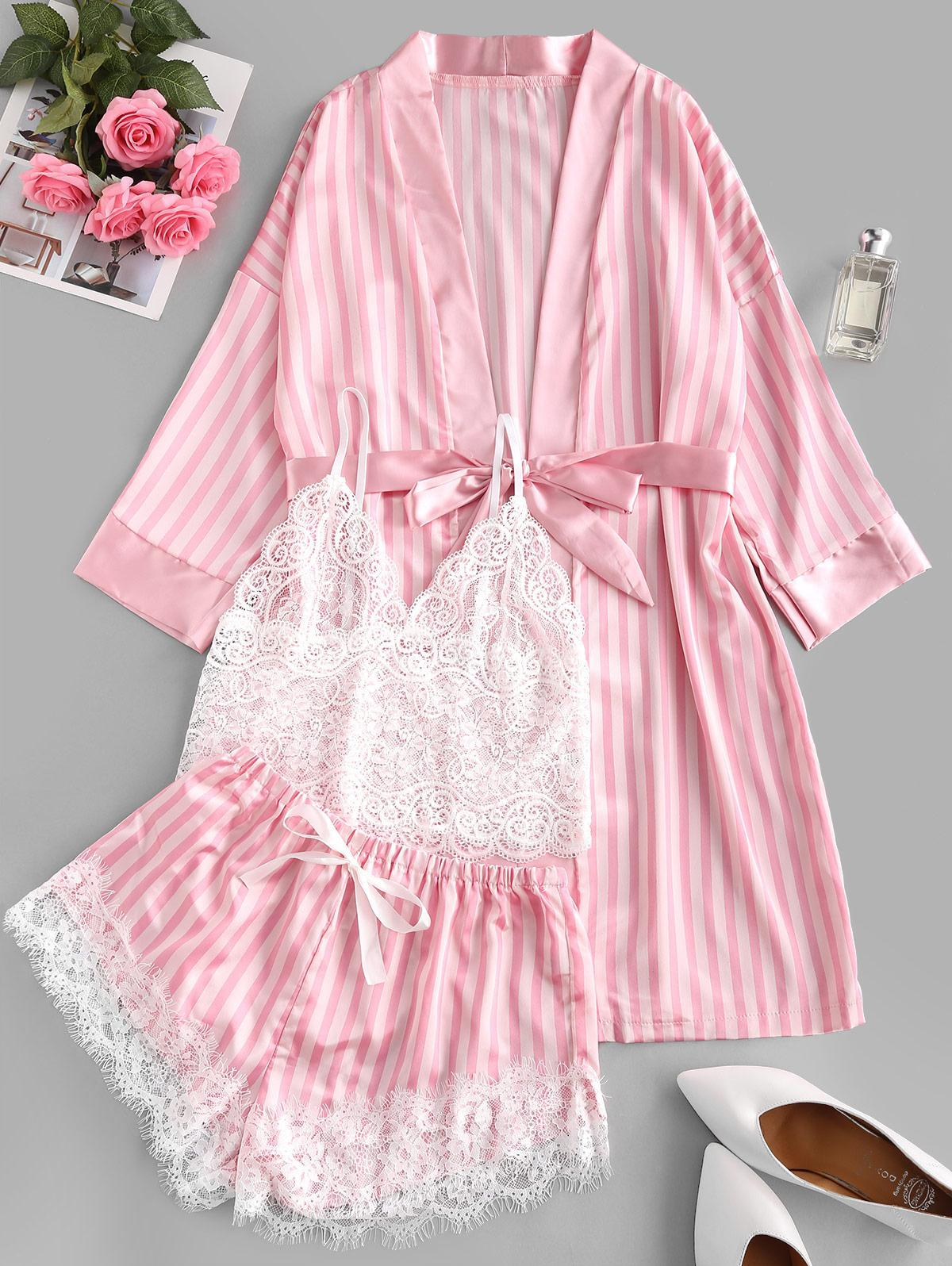 Striped Satin Lace Panel Eyelash PJ Set with Robe