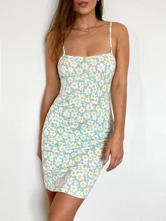 shops Tie Floral Bodycon Dress - LIGHT BLUE M