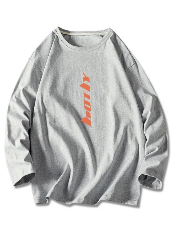 Buchstabe Druck Langarm Basik T-Shirt - Grau 2XL