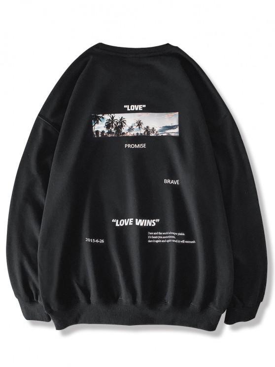Palme Baumdruck Känguru Taschen Sweatshirt - Schwarz M