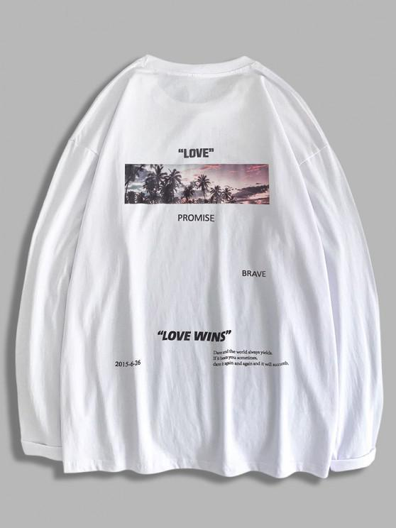 fashion Love Promise Palm Tree Graphic T-shirt - WHITE 2XL