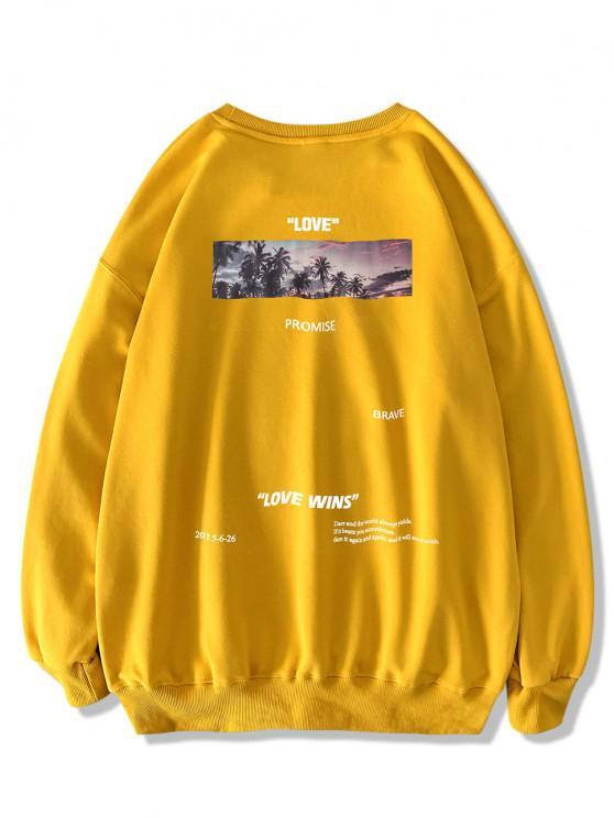 Palm Tree Love Promise Letter Print Sweatshirt - الأصفر M