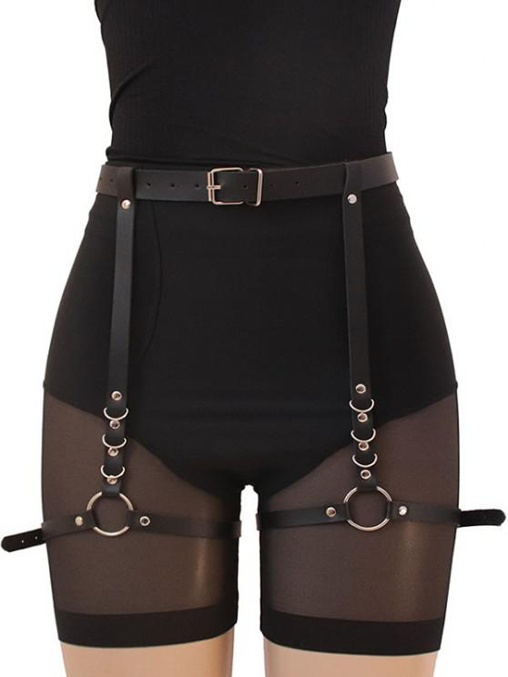 outfits Punk Rings Thigh Buckle Belt - BLACK