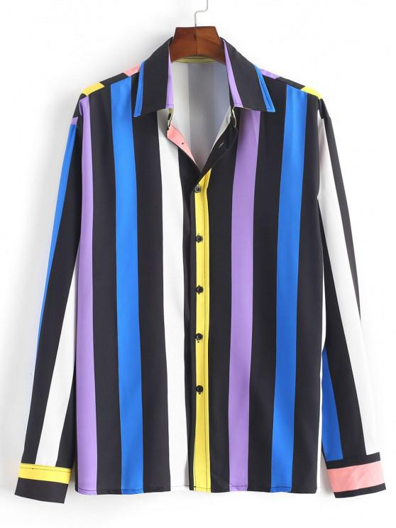 shop Colorful Striped Print Button Up Shirt - BLUE M