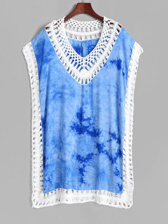fancy Tie Dye Crochet Insert Tunic Beach Dress - BLUE ONE SIZE