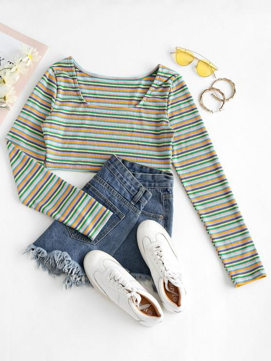 hot Cropped Multicolored Stripes Ribbed Tee - MULTI-A XL