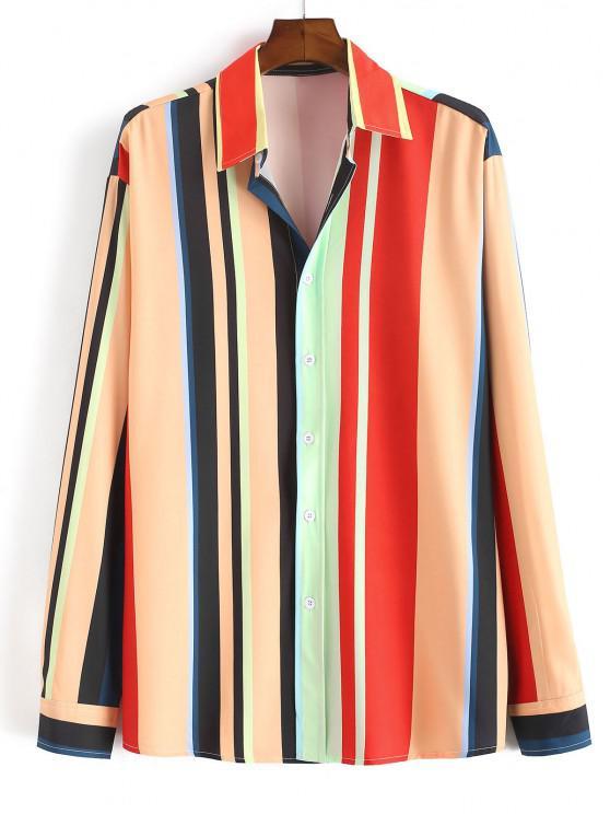 shops Button Up Rainbow Striped Print Shirt - LIGHT ORANGE M