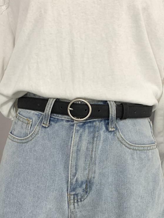 PU Leather O-ring Buckle Waist Belt - أسود