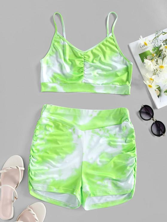 latest ZAFUL Tie Dye Ruched High Waisted Sports Shorts Set - LIGHT GREEN L