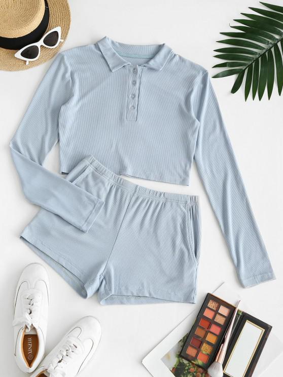 Top e Pantaloncini a Costine con Bottoni Frontali e Due Pezzi - Azzurro XL
