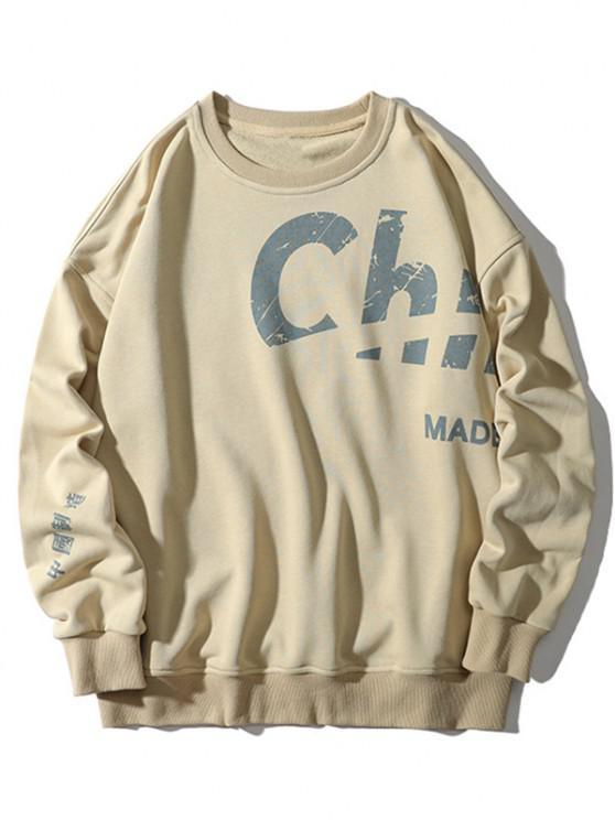 women's Chinese Made In China Print Crew Neck Sweatshirt - BEIGE XL