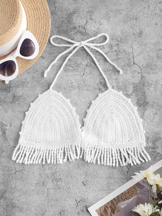best Halter Crochet Fringed Cover Up Top - WHITE ONE SIZE