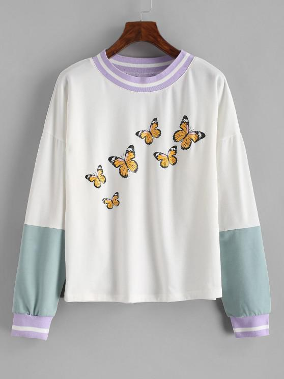 Drop Shoulder Butterfly Print Colorblock Sweatshirt - أبيض S