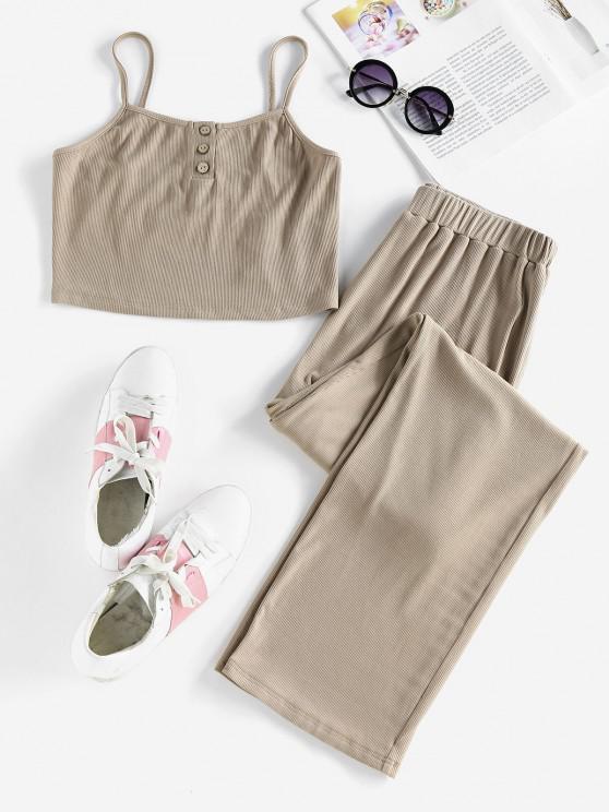 fashion ZAFUL Ribbed Henley Knit Two Piece Pants Set - DEEP COFFEE M