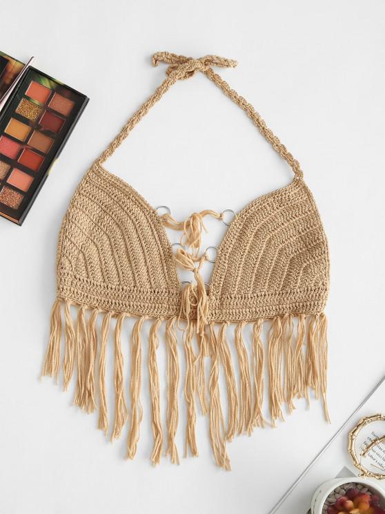 outfit Halter Crochet Fringed O-ring Bikini Top - LIGHT COFFEE L
