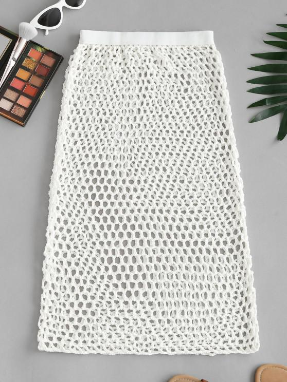 new Openwork Crochet Knit Bodycon Cover-up Skirt - WHITE ONE SIZE