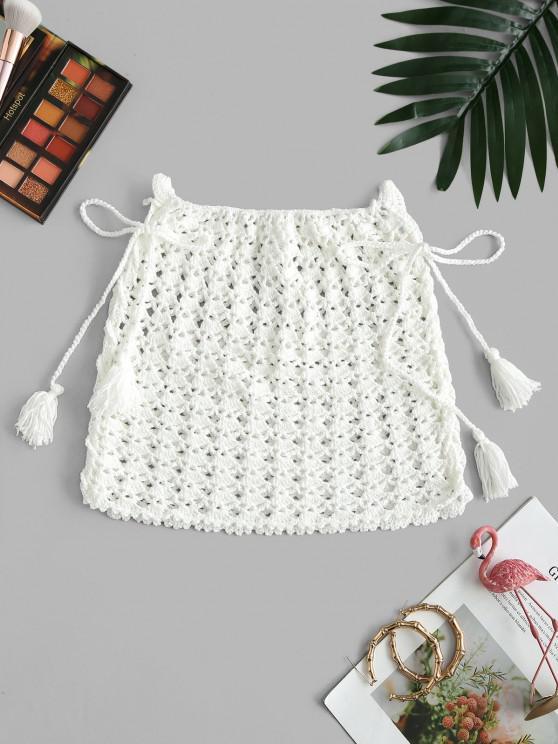 Lace-up Crochet Knit Tassel Cover Up Skirt - أبيض حجم واحد