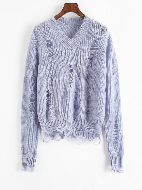 Suéter Gola V Talhado Sólido - Azul claro Um Tamanho