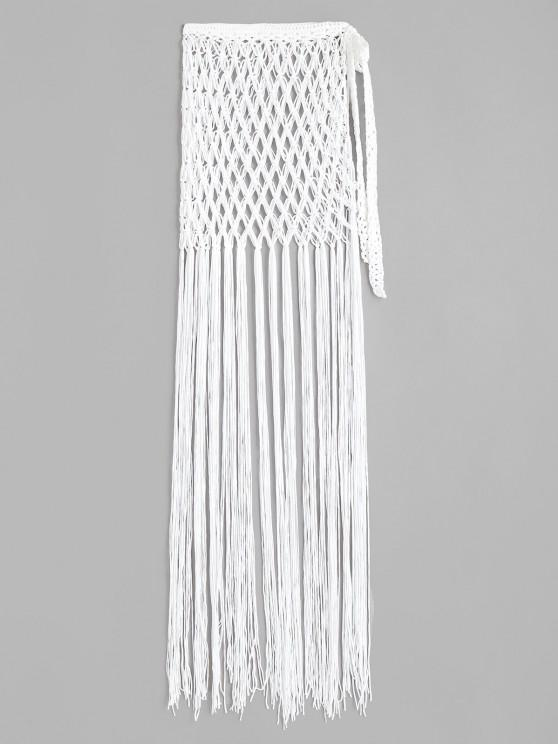 Tassel Crochet Wrap Beach Skirt - أبيض حجم واحد