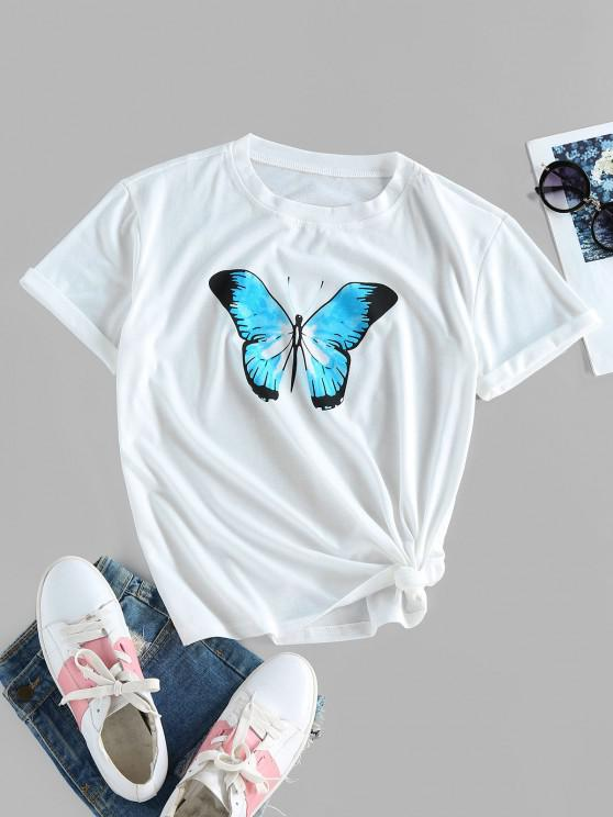 latest Basic Butterfly Print Tee - WHITE M