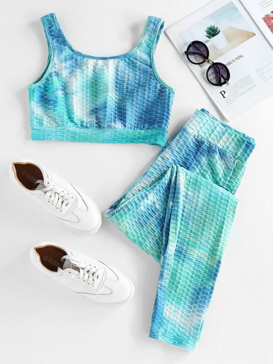 women's ZAFUL Textured Tie Dye High Rise Gym Suit - MULTI-A S