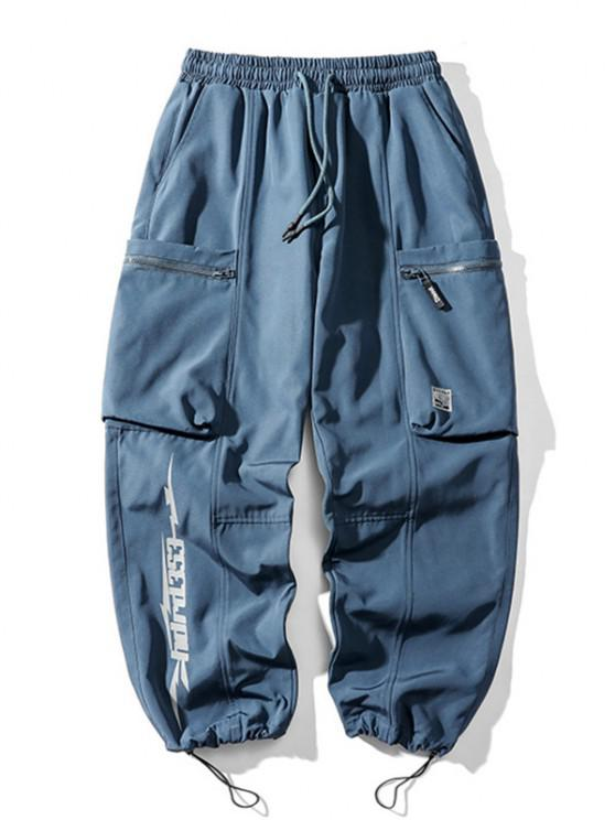 Pocket Patch Letter Print Toggle Cargo Pants - أزرق 3XL