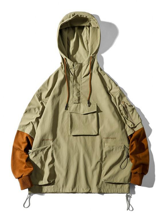 Letter Print Faux Twinset Cargo Pullover Hooded Jacket - كاكي 2XL