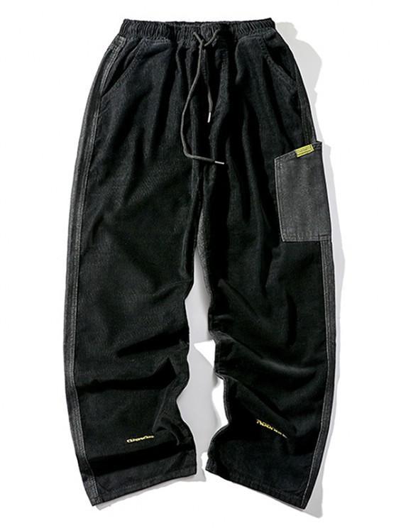 Letter Embroidery Jean Corduroy Panel Pants - أسود L