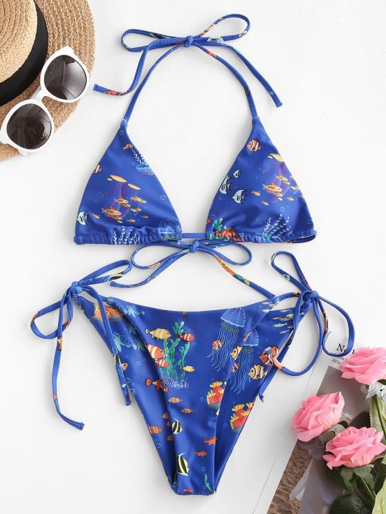 women's ZAFUL Halter Infauna Print Tie String Bikini Swimwear - BLUE S