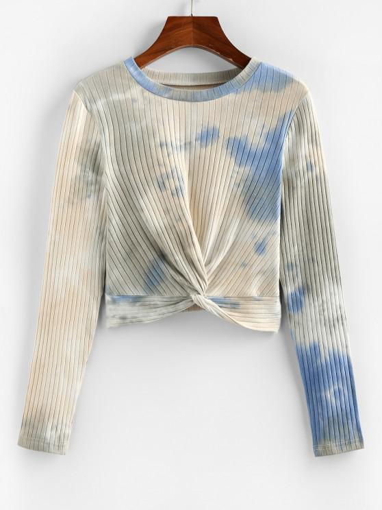 affordable ZAFUL Tie Dye Ribbed Crop T Shirt - LIGHT BLUE XL