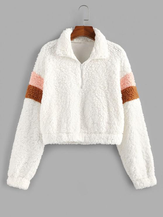 hot ZAFUL Faux Fur Half Zip Short Sweatshirt - WHITE L