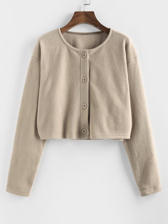 lady Button Up Fleece Crop Jacket - TAN S